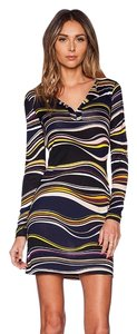 Diane von Furstenberg short dress Navy Striped Tory Burch Silk V Neck Fitted on Tradesy