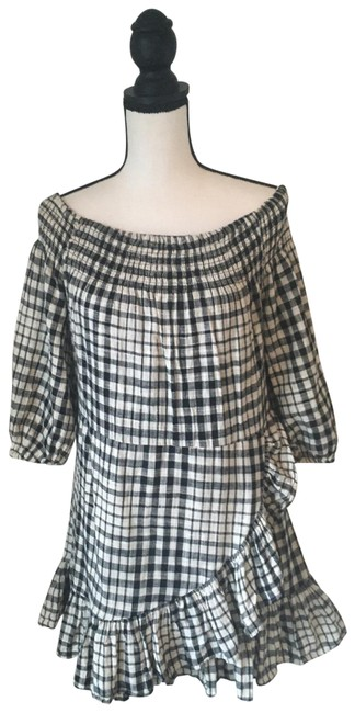 Tularosa Black & White Gingham Maida Ruffle / Medium Short Casual Dress Size 8 (M) Tularosa Black & White Gingham Maida Ruffle / Medium Short Casual Dress Size 8 (M) Image 1