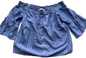 Abercrombie & Fitch Off The Shoulder Stripe Striped Stripes Top Blue