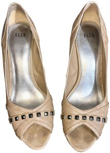 Elle Stiletto Peep Toe Heels Camel Pumps