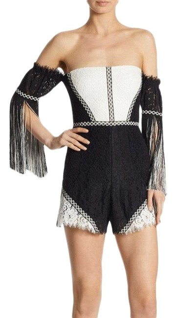 Item - White and Black Mirabella Lace Romper/Jumpsuit