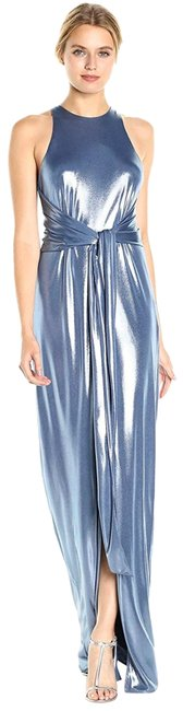 Item - Metallic Blue Jersey Women's Sleeveless High Neck Gown with Sash Long Formal Dress Size 12 (L)