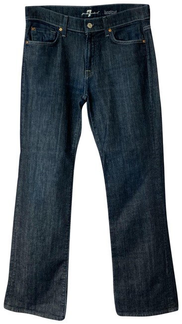 7 For All Mankind Blue Dark Rinse Denim Cotton Boot Straight Leg Jeans Size 31 (6, M) 7 For All Mankind Blue Dark Rinse Denim Cotton Boot Straight Leg Jeans Size 31 (6, M) Image 1