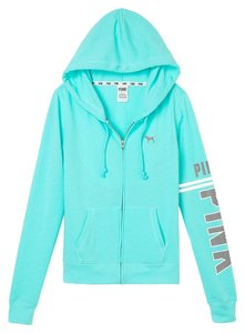 PINK Victoria's Secret Perfect Zip Large Teal Sweatshirt