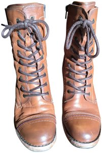 Taos Footwear Combat Leather Heeled Stitching Brown cognac Boots