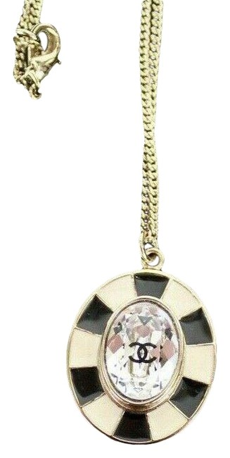 Item - Black/White/Silver New Cc Logo Pendant Enamel Crystal Gem 18 Necklace