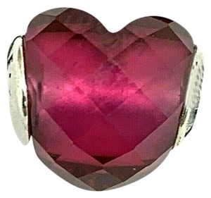 PANDORA PANDORA Heart Charm Authentic Sterling Silver .925 Fuchsia Red Crystal