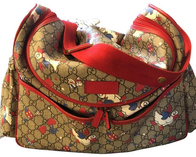 Item - Duck Print Gg Beige Multi Bright Red Supreme Canvas / Leather / Poly Diaper Bag