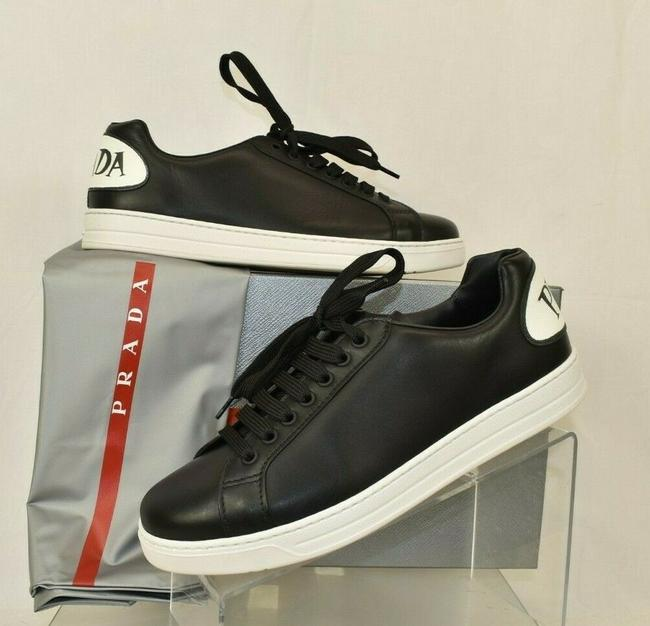 Item - Black Leather Textured Logo Lace Up Low Top Sneakers 6.5 Us 7.5 Shoes