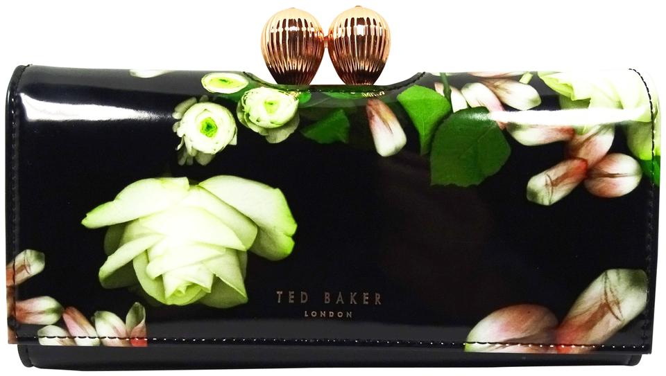 Jet Black Ted Baker Verree MATINEE Patent Leather Wallet w//Crystal Bobble