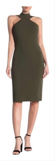 Item - Olive Green Double Strap Halter Mid-length Cocktail Dress Size 10 (M)