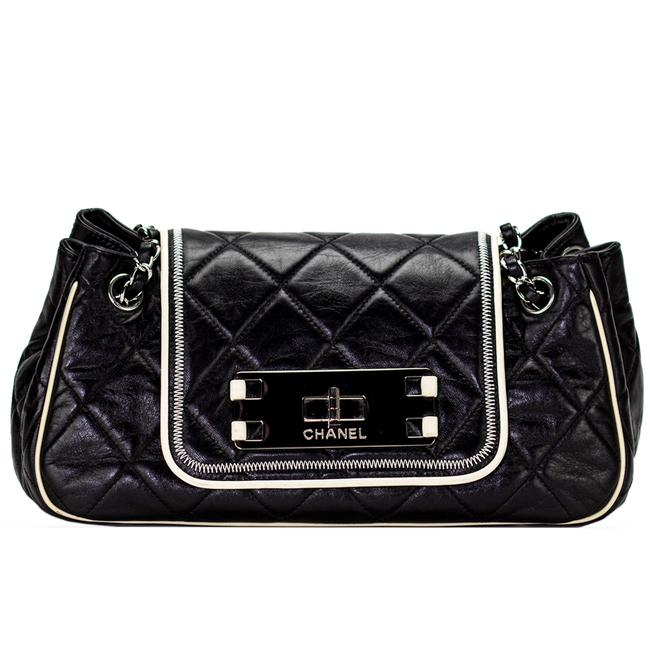 Item - Classic Flap 2.55 Reissue Vintage Retro Bicolor Accordion Black and White Calfskin Leather Cross Body Bag