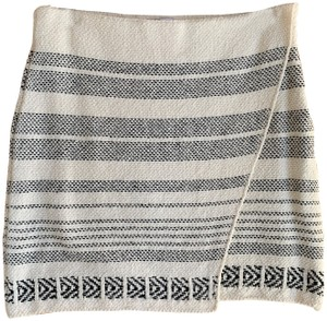 Urban Outfitters Knit Woven Wrap Ikat Mini Skirt Ivory, Black