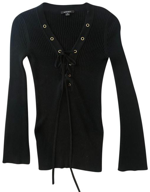 Item - Laced Up Ribbed Black Sweater