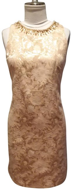 Item - Gold Pink Ivory Mid-length Cocktail Dress Size 10 (M)