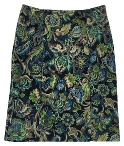 W by Worth Corduroy Zipper Floral Lined Pencil Skirt Blue/Green