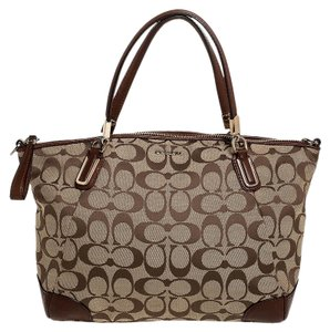Coach Canvas Leather Satchel in Beige