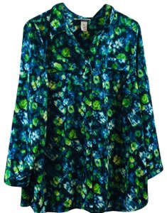 Catherines Plus-size Multi-colored Flowy Bright Button Down Shirt Blue and Green