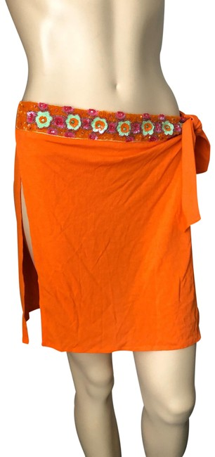 Item - Orange W W/Sequin Rayon Skirt Cover-up/Sarong Size 6 (S)