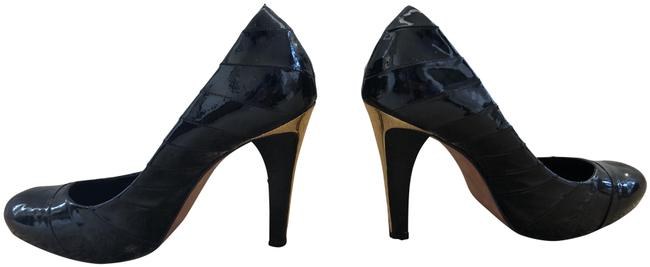 Item - Black & Gold Stripped Heels Pumps Size US 8.5 Regular (M, B)