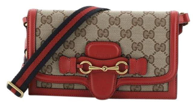 Item - Lady Web Convertible Wallet with Leather Brown Red Canvas Clutch