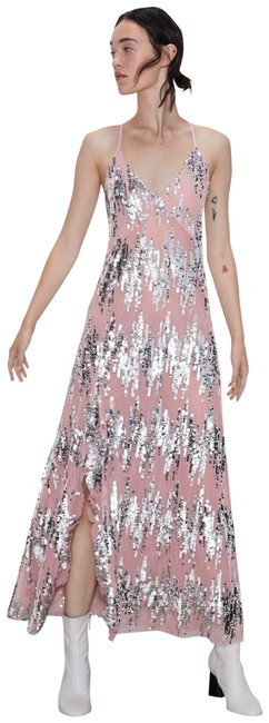 Item - Pink/Silver New S Sequinned Strappy 2878//473 Long Cocktail Dress Size 4 (S)