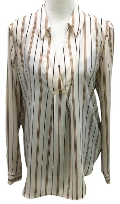 Item - Tan Split Neck Striped Blouse Size 8 (M)