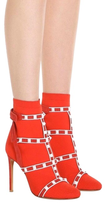 Item - Red W Garavani Rockstud Ankle W/ Straps Color New Boots/Booties Size EU 38.5 (Approx. US 8.5) Regular (M, B)