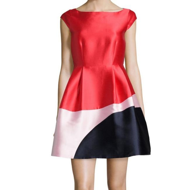 Item - Red Colorblock Fit N Flare Short Cocktail Dress Size 2 (XS)