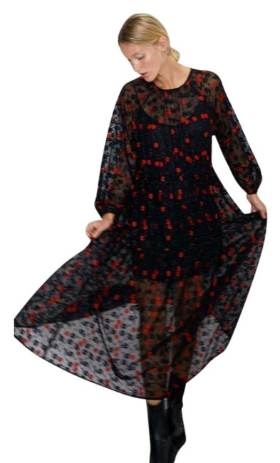Item - Black Red Oversized Floral Embroidery Long Night Out Dress Size 14 (L)