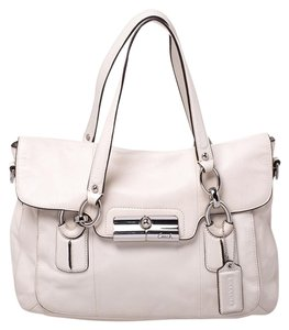 Coach Leather Satin Satchel in White