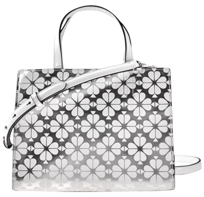 Item - Women's Flower Medium Satchel Withe/Silver with Tag Leather Cross Body Bag