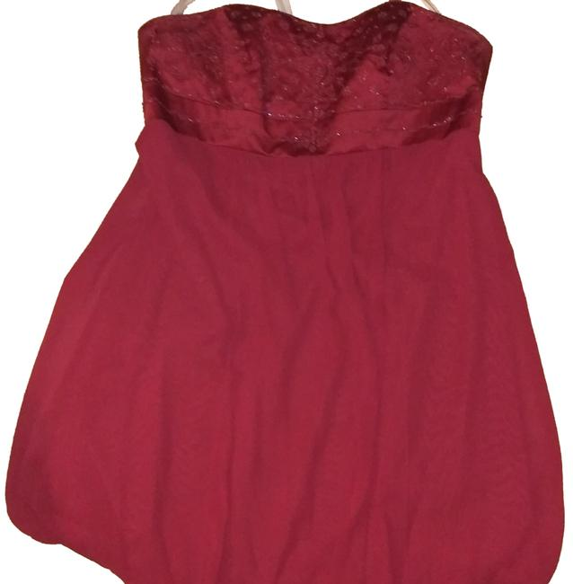 Item - Cranberry Red Strapless with Beaded Design Short Formal Dress Size 18 (XL, Plus 0x)