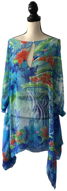 Item - Blue & Green L Floral Silk Cover-up/Sarong Size 12 (L)
