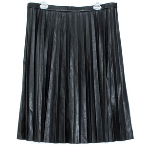 J.Crew Faux Leather Pleated Skirt Black