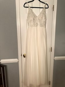Belsoie White and Silver Tulle Satin Lace L194001 In Ivory Casual Bridesmaid/Mob Dress Size 8 (M)