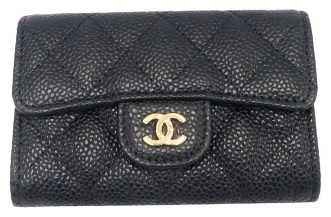 Chanel Black Classic Flap Card Holder In Caviar with Sliver Hardware Wallet Chanel Black Classic Flap Card Holder In Caviar with Sliver Hardware Wallet Image 1