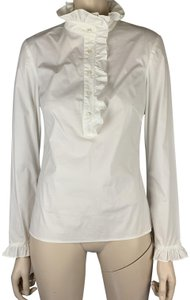 Tory Burch Soft Spandex High Collar High Neck Button Top White