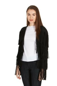 Tom Ford Fringe Detailing No Closure Jacket Womens Fringe Jacket Black Blazer