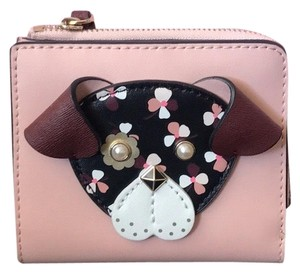 Kate Spade KATE SPADE FLORAL PUP SMALL L ZIP BIFOLD BILLFOLD ID WALLET $129.00 Leather w/ matching trim