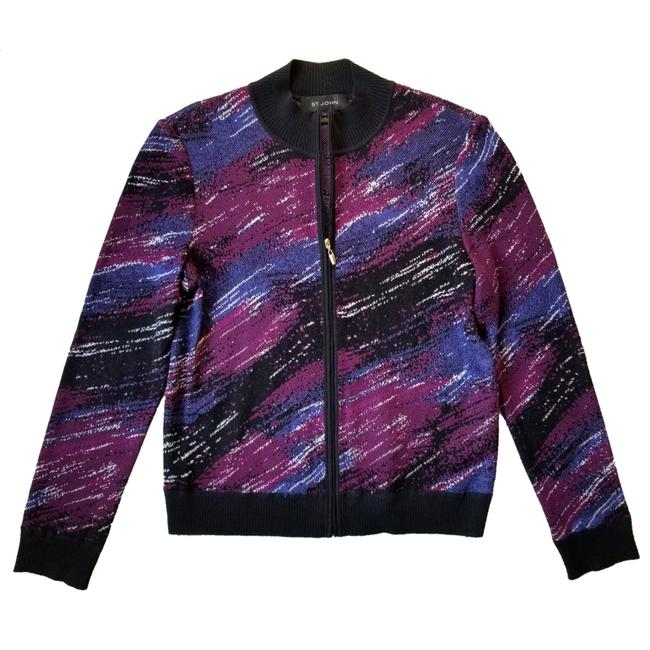 Item - Black Purple and Blue Knit Zip-front Bomber Jacket Size 4 (S)