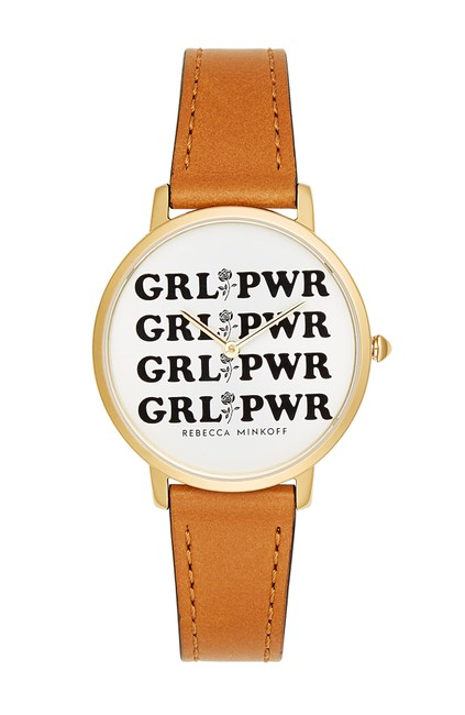 Item - Grey Major Grl Pwr Leather Strap 35mm Watch