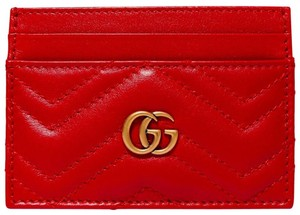 Gucci NEW GUCCI RED QUILTED MARMONT CARD CASE WALLET