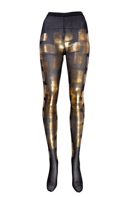 Item - Black & Gold Metallic Stockings Hosiery