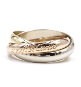 Cartier 18K 750 Trinity white gold yellow rose pink gold ring size 56 6.5