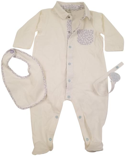 Item - Blue Signature Logo Trim Baby Onesie Outfit Set with Hat & Hankie 6mo