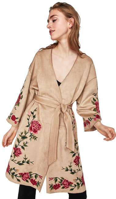 Item - Tan/Red XS New Faux Suede Embroidered Bohemian Jacket 6318/029 Blazer Size 4 (S)