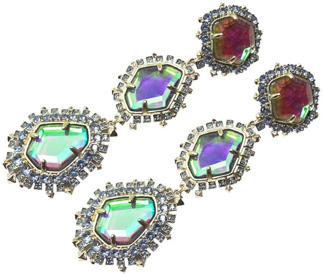 Kendra Scott Multi-color Aria Rhodium Plated Dichroic Glass Statement Clip Earrings Kendra Scott Multi-color Aria Rhodium Plated Dichroic Glass Statement Clip Earrings Image 1