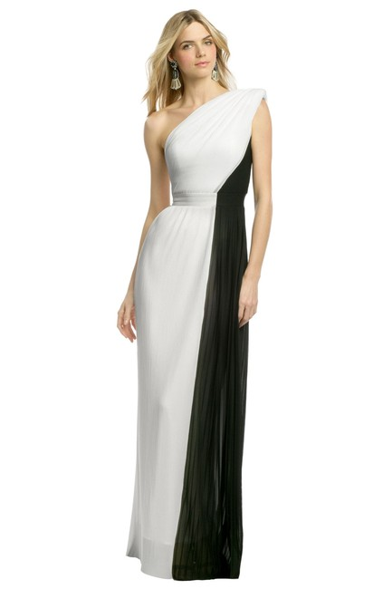 Item - Black and White North Vs South Long Formal Dress Size 2 (XS)