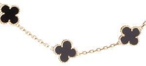 Van Cleef & Arpels ONYX AND 18K YELLOW GOLD 10 MOTIF VINTAGE ALHAMBRA NECKLACE